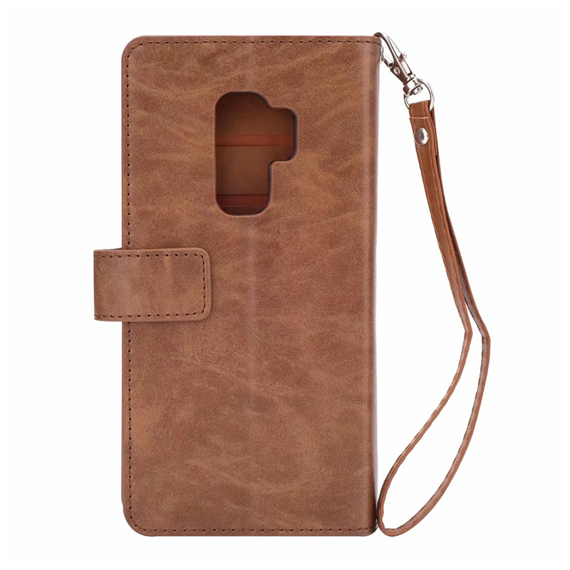 Premium PU Leather Zipper Wallet Case Magnetic Card Slots Flip Stand Cover for Samsung S9 Plus - Brown