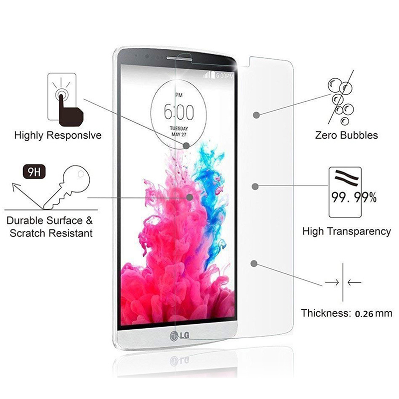 9H Hardness Super Scratch Resistant HD Clear Tempered Glass Screen Protector for LG G3 D855 D850