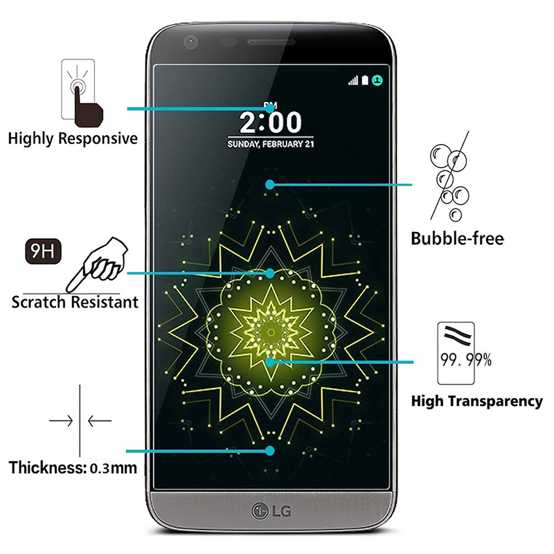 9H Hardness Ultra Clear Anti Scratch Tempered Glass Screen Protector Film for LG G5