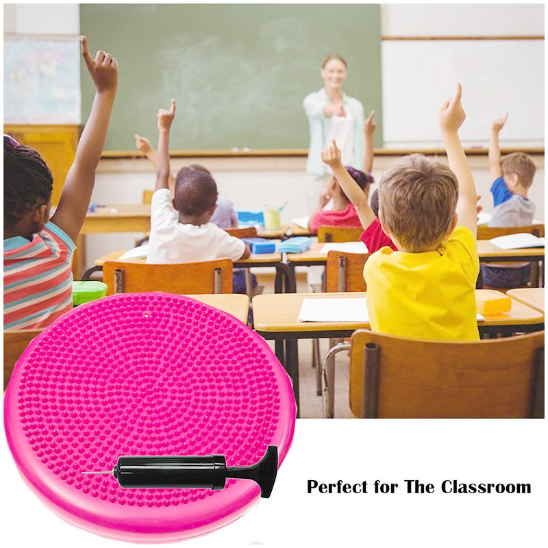 Yoga Exercise Balance Board Disc Gym Stability Air Cushion Massage Pad with Hand Pump - Pink