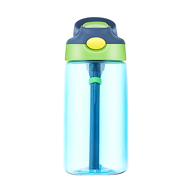 500ML Kids Children Straw Sports Water Bottle Leak-proof Drinking Cup - Blue