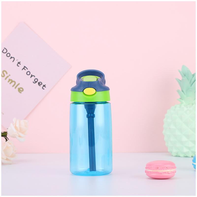 500ML Kids Children Straw Sports Water Bottle Leak-proof Drinking Cup - Blue