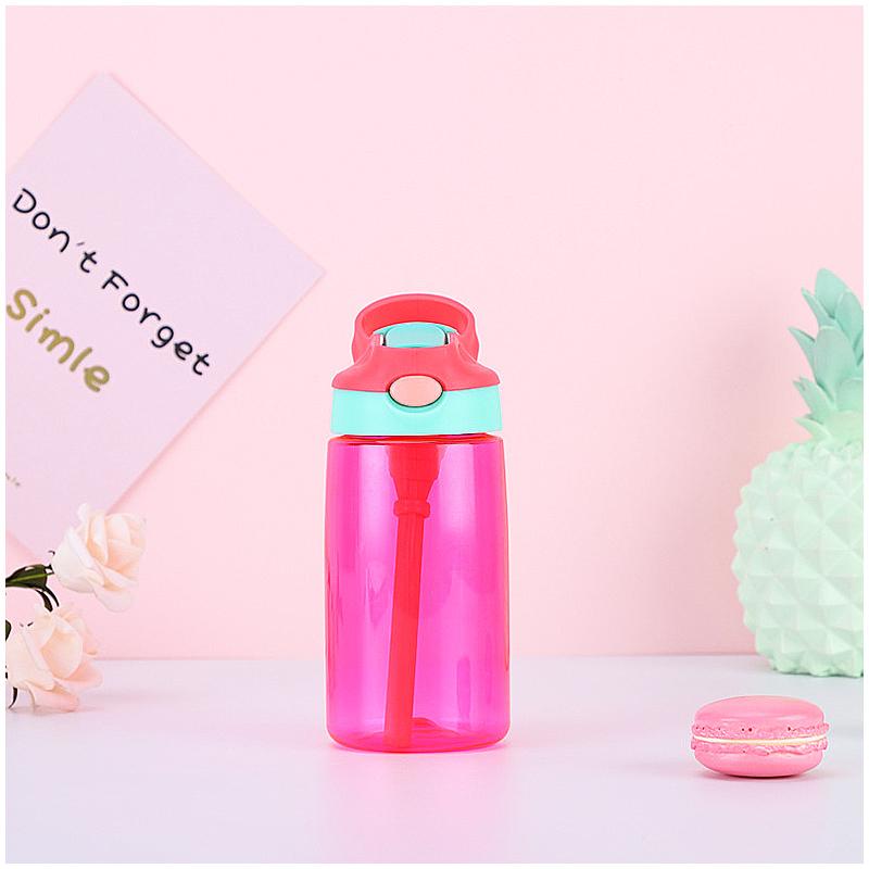 500ML Kids Children Straw Sports Water Bottle Leak-proof Drinking Cup - Red