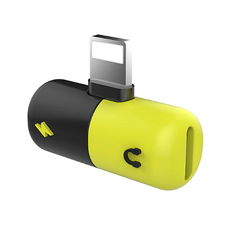2in1 Lightning Splitter Adapter Charger Headphone Jack Dongle for iPhone - Black+Yellow