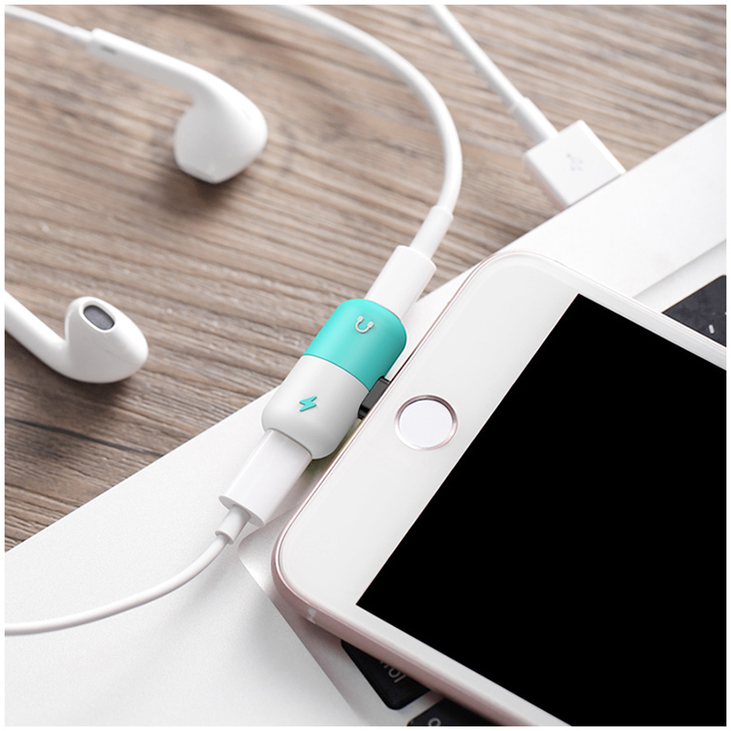 2in1 Lightning Splitter Adapter Charger Headphone Jack Dongle for iPhone - Blue+White