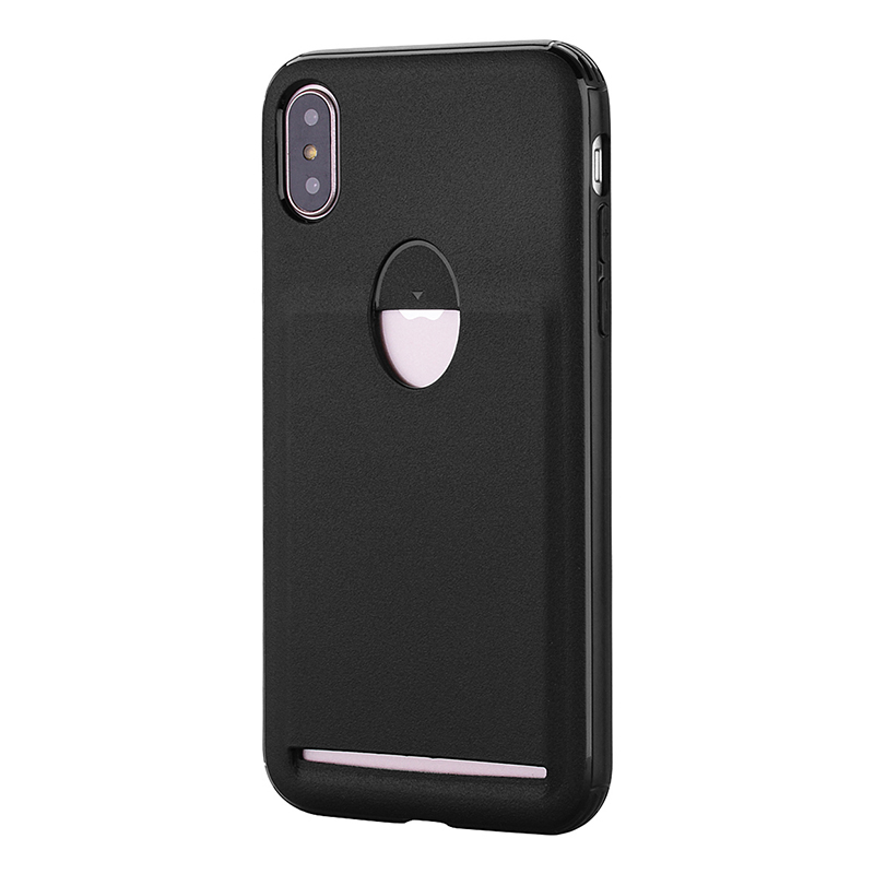 iPhone X/XS Soft Flexible TPU Rubber Shockproof Case Back Cover with Card Slot - Black