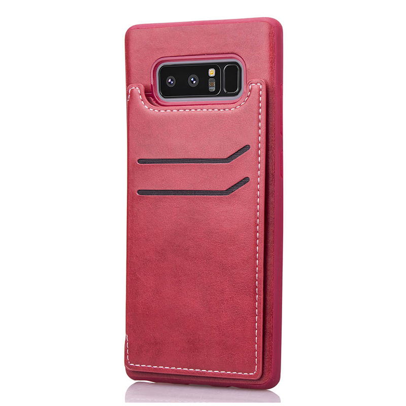 Magnetic PU Leather Wallet Back Cover Card Slot Flip Stand Shockproof Case for Samsung Note 8 - Red