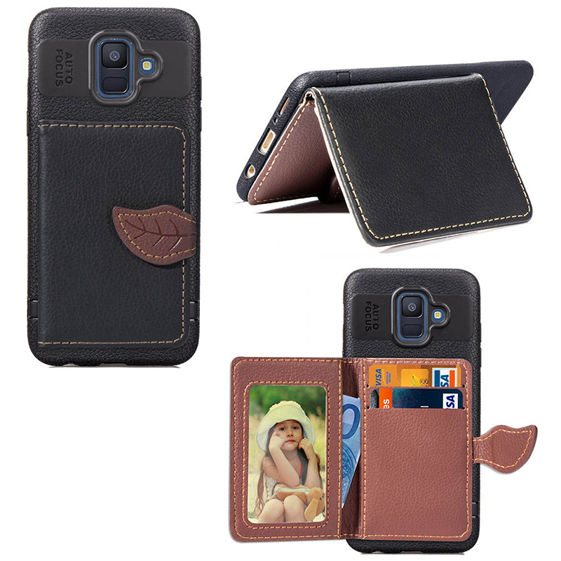 Leaf Magnetic Wallet Premium PU Leather Back Cover Case for Samsung Galaxy A6 2018 - Black