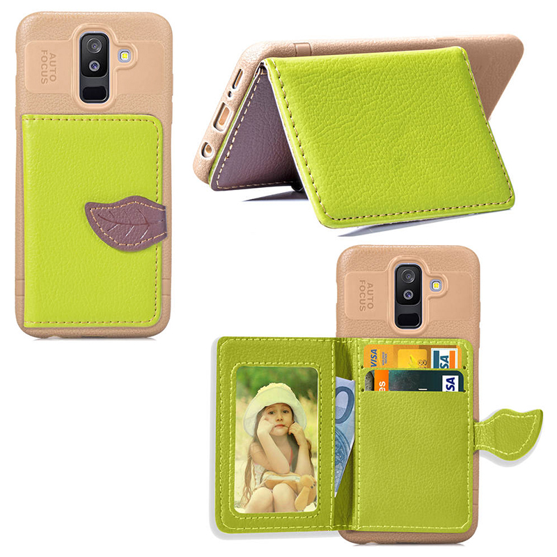 Fashion Leaf Magnetic Slim PU Leather Case Back Cover for Samsung Galaxy A6 Plus 2018 - Green