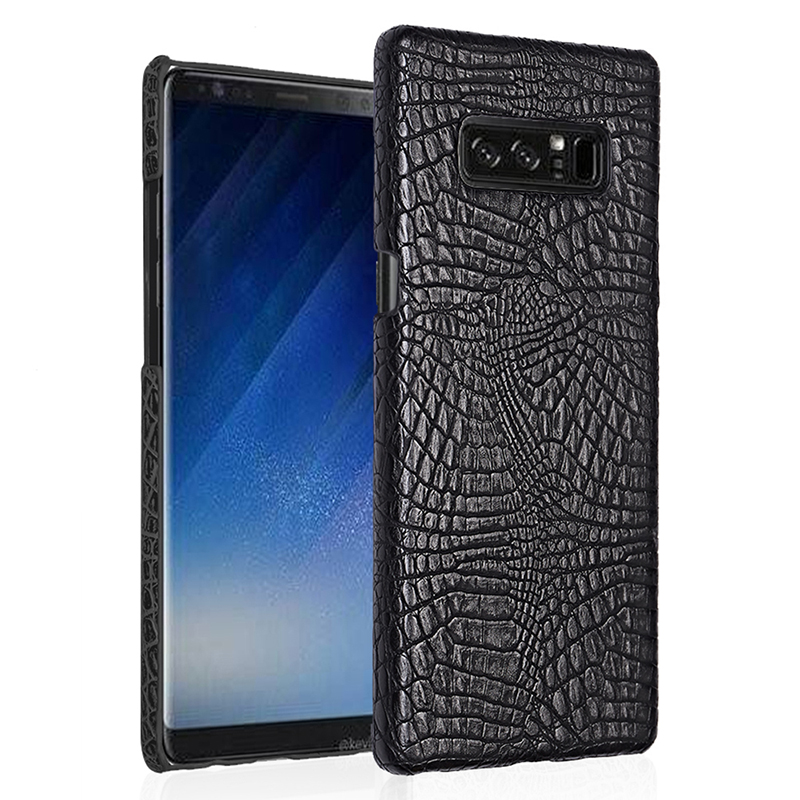 Crocodile PU Leather Slim Thin Hard Back Case Cover for Samsung Galaxy Note 8 - Black