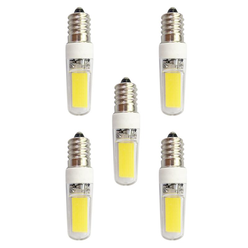 5Pcs E14 3W 240lm LED Light Bulb 2 LED Beads COM AC 220-240V Lamp Bulbs - White