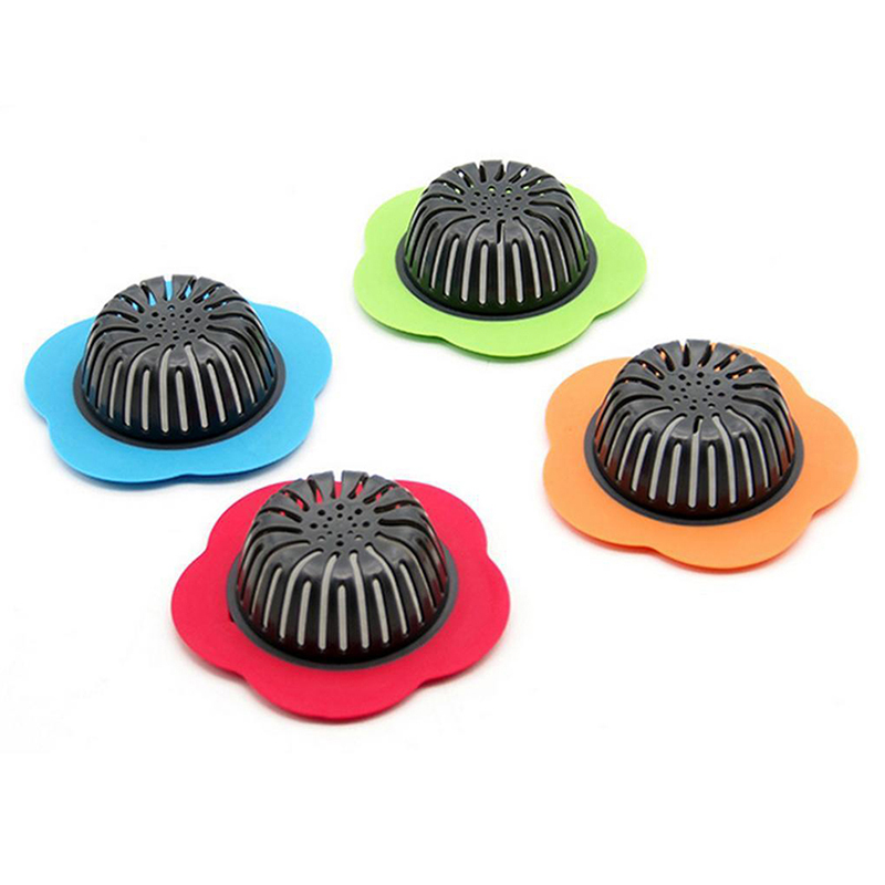 Flower Sink Strainer Stopper Plastic Kitchen Sink Drain Filter Basket - Orange