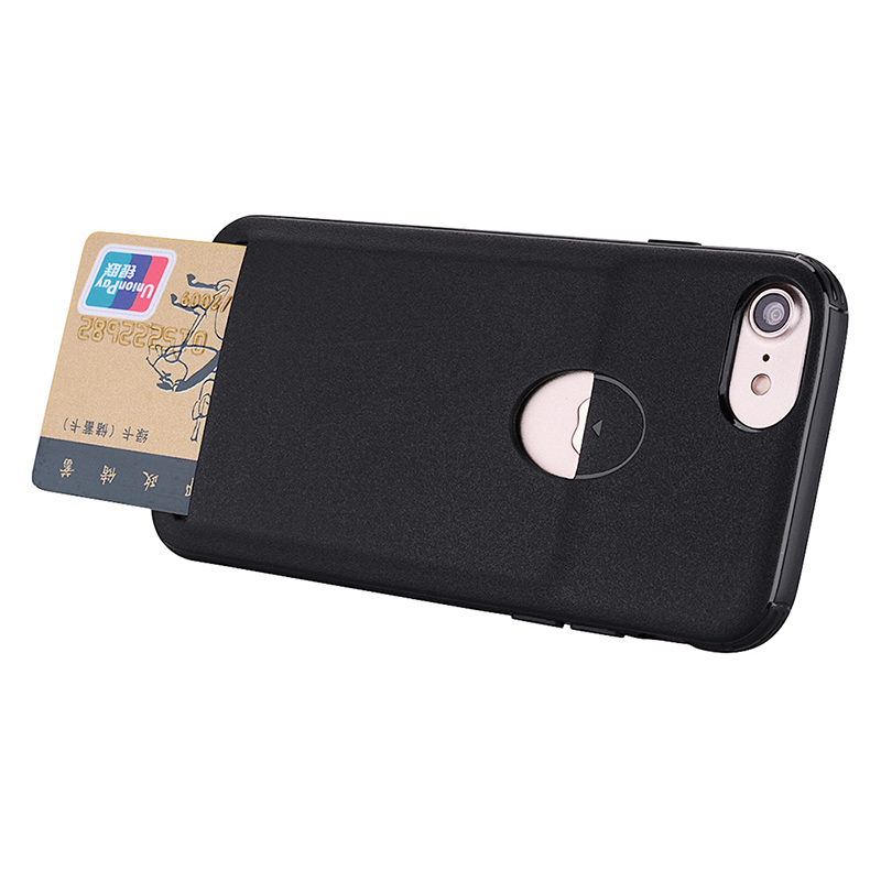 iPhone 7/8 Flexible Soft TPU Gel Rubber Shockproof Case Back Cover with Card Slot Function - Black