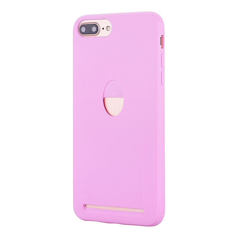 Slim Card Slot TPU Case Flexible Rubber Gel Anti Shock Back Cover for iPhone 7/8 Plus - Pink