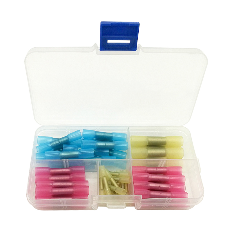 50Pcs/Set Heat Shrink Butt Crimp Terminals Waterproof Insulated Electrical Wire Cable Connectors