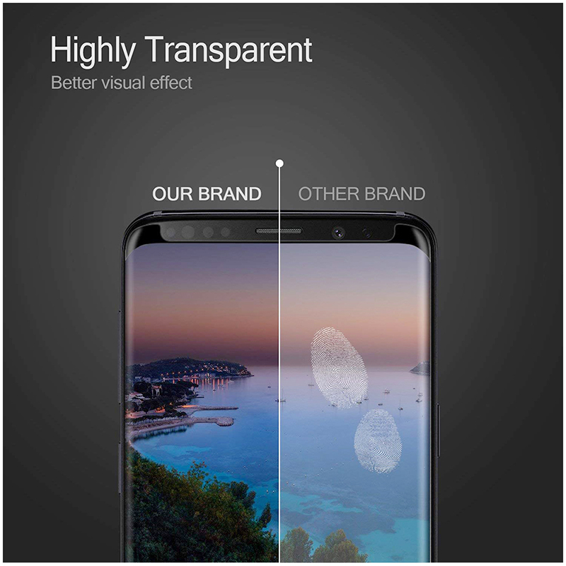 9H Full 3D Curved Hard Tempered Glass Screen Protector Film for Samsung Note 9 - Black