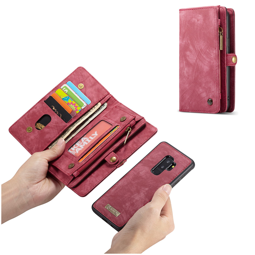 Multifunction PU Leather Case Detachable Magnetic Wallet Cover for Samsung S9 Plus - Red