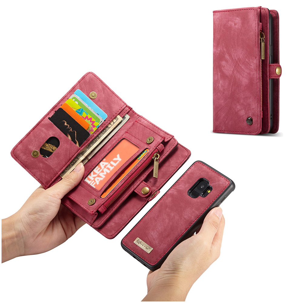 2in1 Multifunctional PU Leather Case 11 Card Slots Large Capacity Detachable Wallet Cover for Samsung S9 - Red