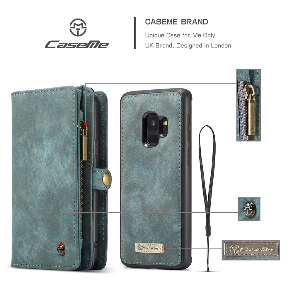 2in1 Multifunctional PU Leather Case 11 Card Slots Large Capacity Detachable Wallet Cover for Samsung S9 - Blue