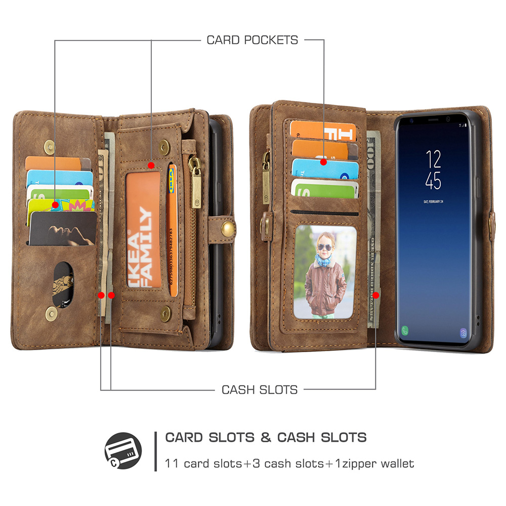 2in1 Multifunctional PU Leather Case 11 Card Slots Large Capacity Detachable Wallet Cover for Samsung S9 - Brown