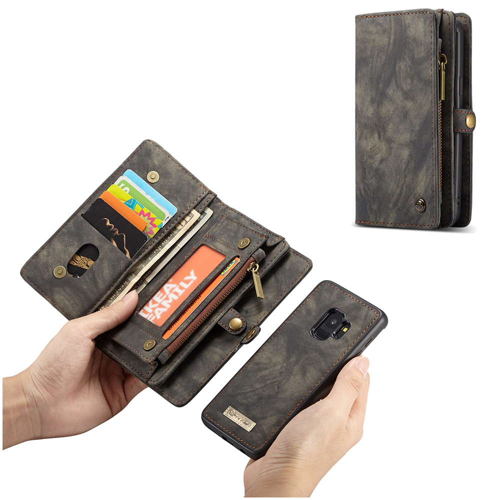 2in1 Multifunctional PU Leather Case 11 Card Slots Large Capacity Detachable Wallet Cover for Samsung S9 - Black