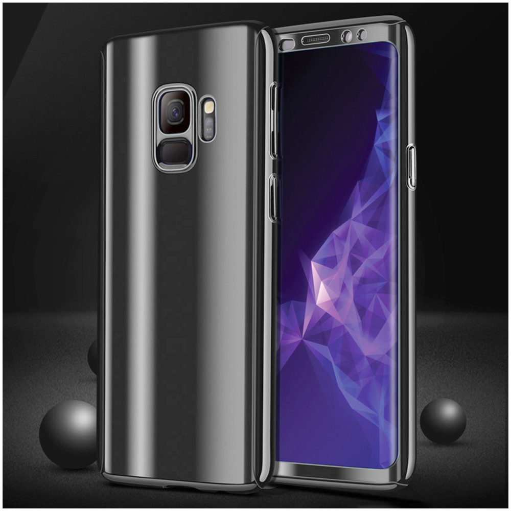 360 Degree Full-Body Shockproof Anti-Scratch Case Cover with Built-in Screen Protector for Samsung S9 - Black