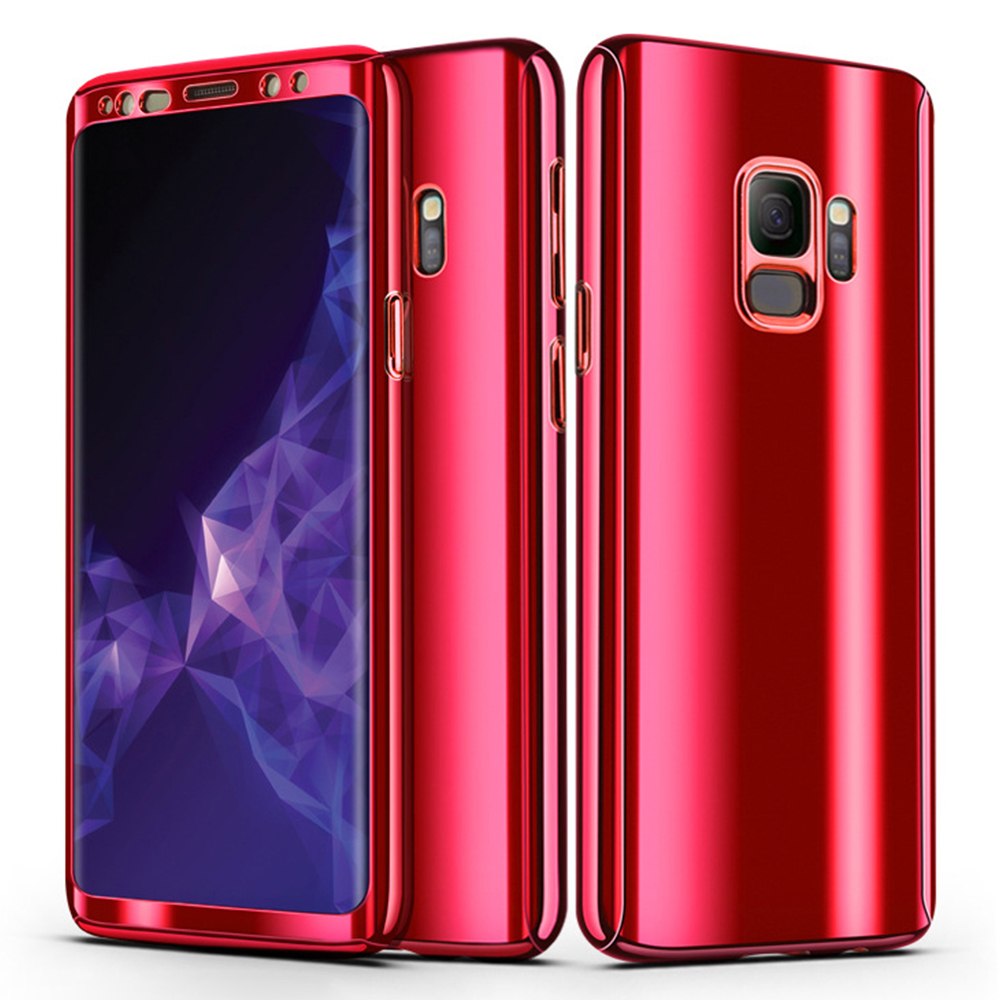 360 Degree Full-Body Shockproof Anti-Scratch Case Cover with Built-in Screen Protector for Samsung S9 - Red