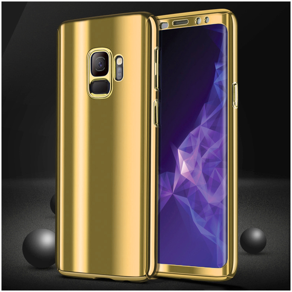 360 Degree Full-Body Shockproof Anti-Scratch Case Cover with Built-in Screen Protector for Samsung S9 - Golden