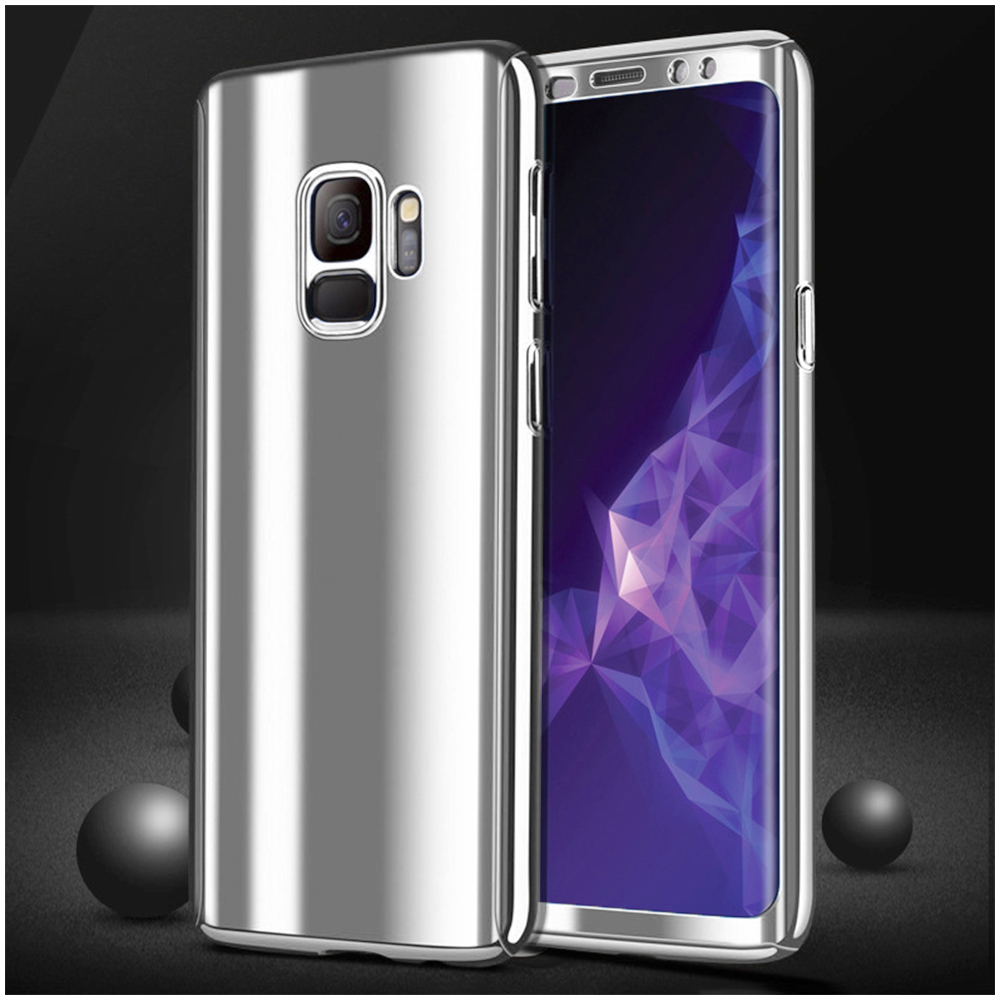 360 Degree Full-Body Shockproof Anti-Scratch Case Cover with Built-in Screen Protector for Samsung S9 - Silver