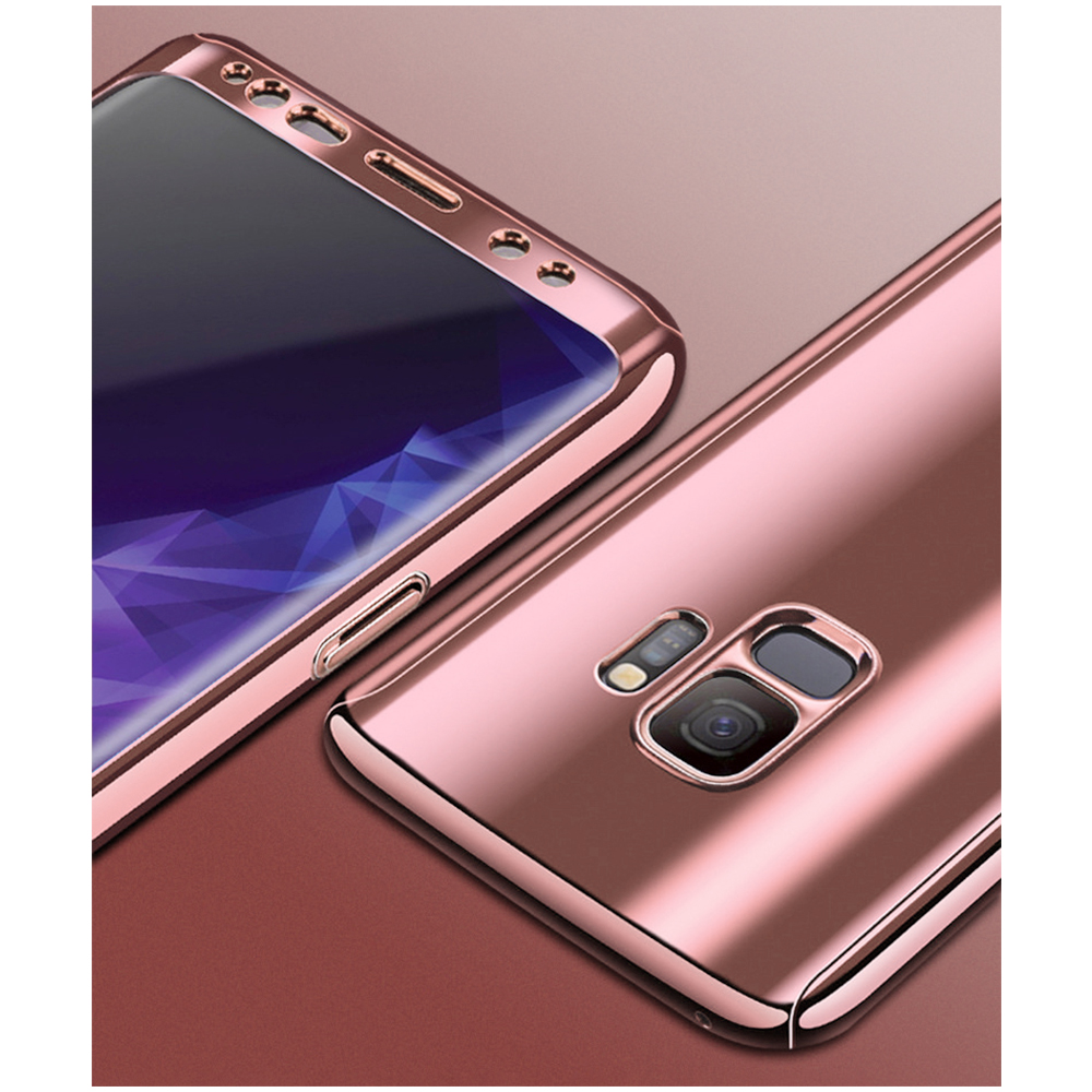 360 Degree Full-Body Shockproof Anti-Scratch Case Cover with Built-in Screen Protector for Samsung S9 - Rose Golden
