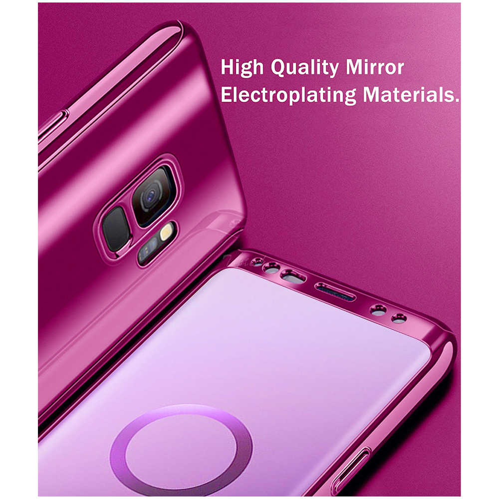 360 Degree Full-Body Shockproof Anti-Scratch Case Cover with Built-in Screen Protector for Samsung S9 - Purple