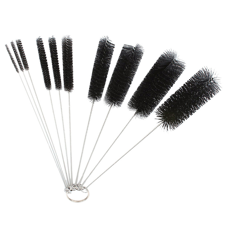 10Pcs/Set Nylon Tube Multi-function Cleaning Brushes Cleaner Tool for Teapot Nozzle Narrow Neck Bottles - Black