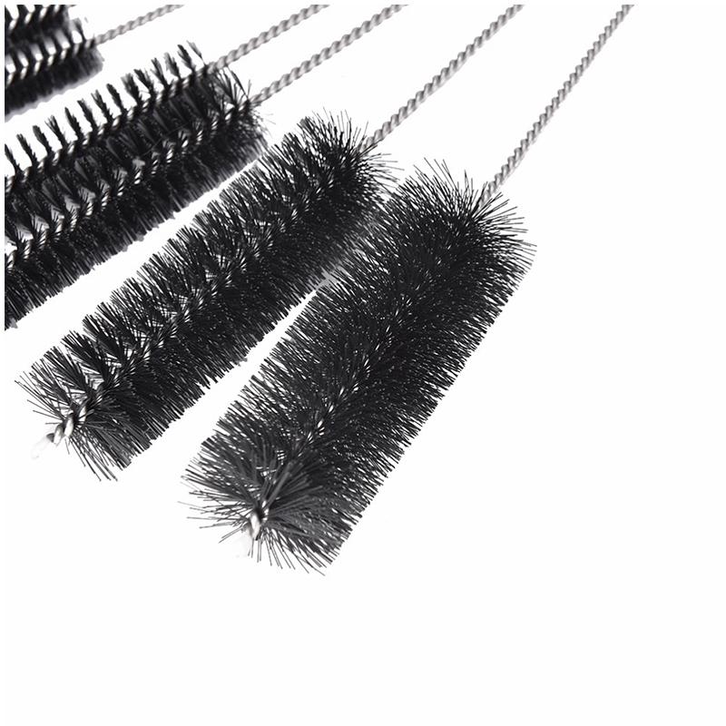 10Pcs/Set Nylon Tube Multi-function Cleaning Brushes Cleaner Tool for Teapot Nozzle Narrow Neck Bottles - Black