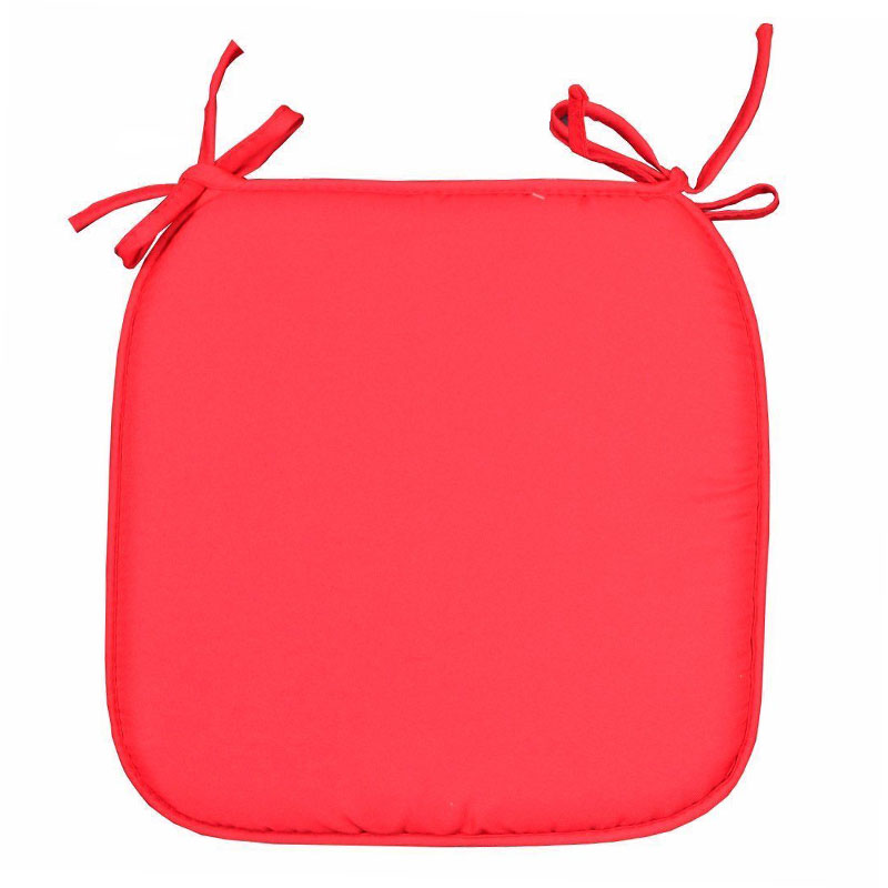 40X40CM Removable Tie On Chair Square Seat Cushions Pad for Dining Room Office Cafe - Red