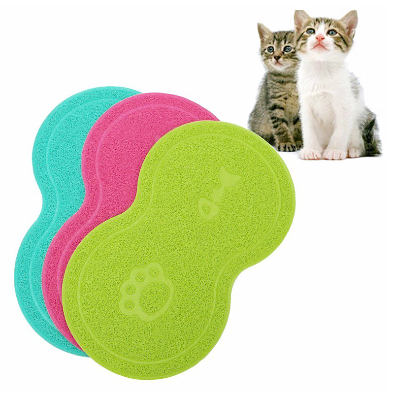 Pet Dog Puppy Cat Feeding Mat Pad Cute PVC Bed Dish Bowl Food Feed Placemat - Green