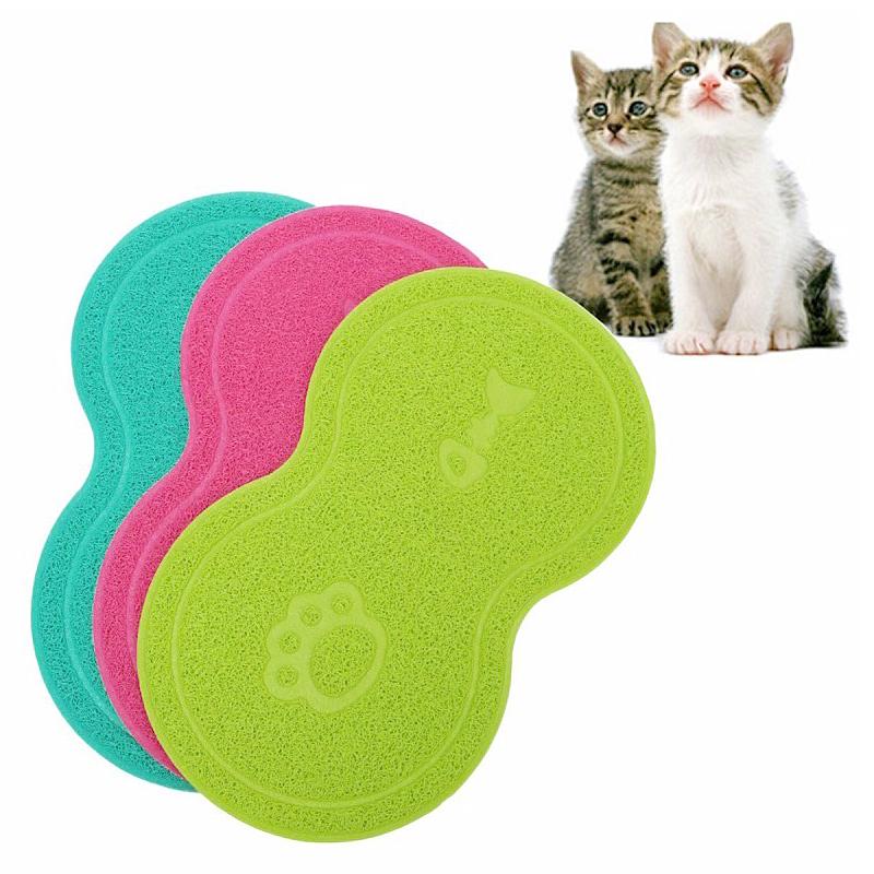 Pet Dog Puppy Cat Feeding Mat Pad Cute PVC Bed Dish Bowl Food Feed Placemat - Lake Blue
