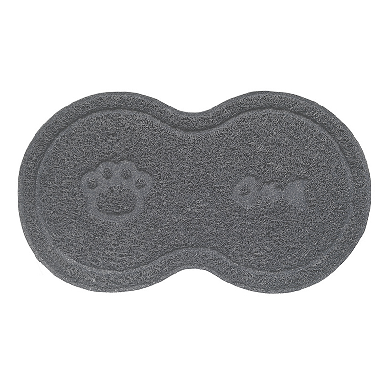 Pet Dog Puppy Cat Feeding Mat Pad Cute PVC Bed Dish Bowl Food Feed Placemat - Grey