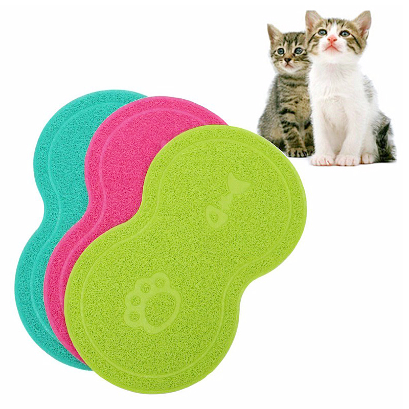 Pet Dog Puppy Cat Feeding Mat Pad Cute PVC Bed Dish Bowl Food Feed Placemat - Rose Red