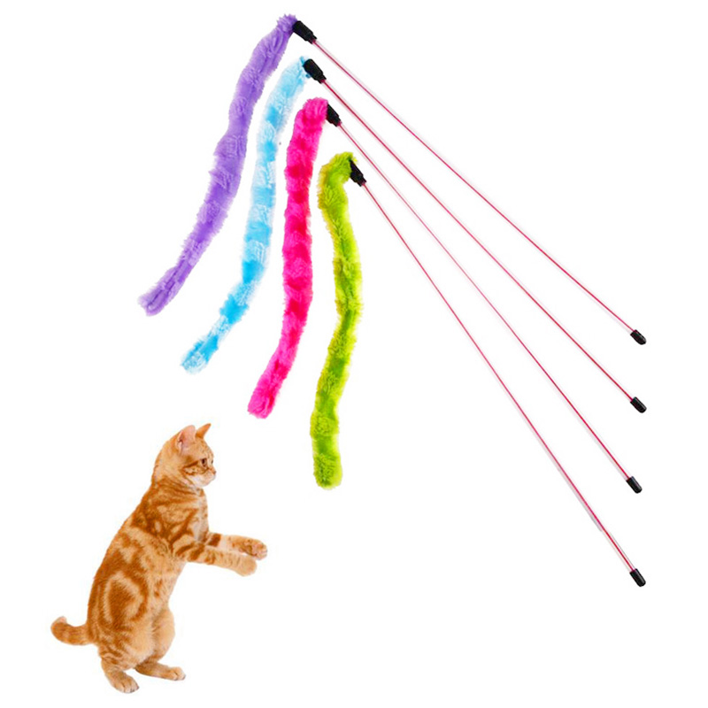 Funny Pet Cat Teaser Kitten Wire Play Catcher Toy Plush Pompon Rods Rod Training Toys - Purple