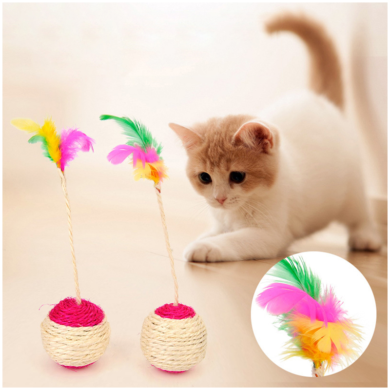 Pet Cat Kitten Toy Rolling Sisal Scratching Ball Interactive Feather Toys