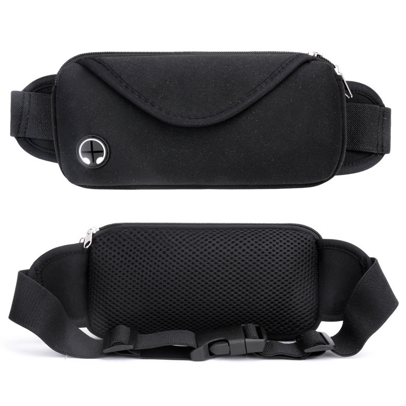 Unisex Sports Waist Bag Waterproof Outdoor Phone Wallet Holder Pouch for Running Cycling - Black