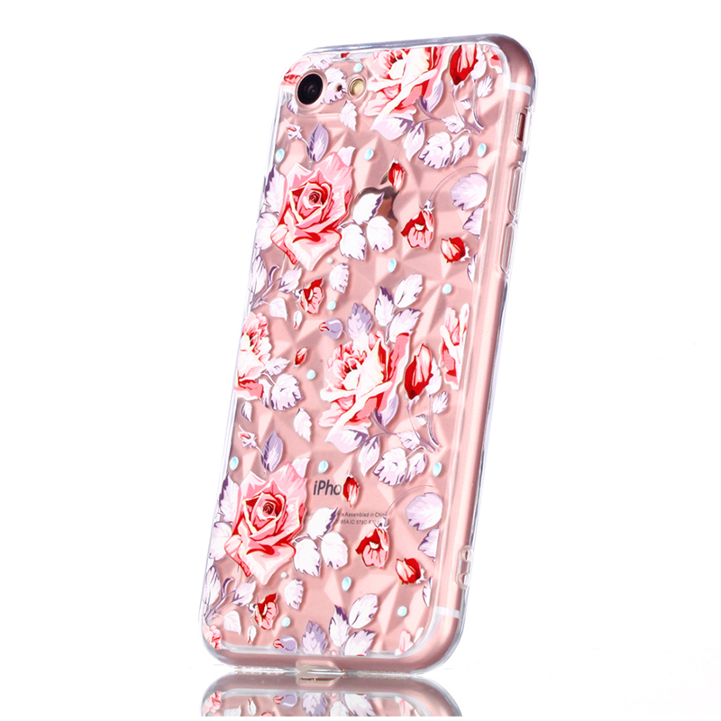 Crystal Bling Diamond Pattern TPU Case Clear Soft Silicone Shockproof Back Cover for iPhone 7/8 - Broken Powder Flower