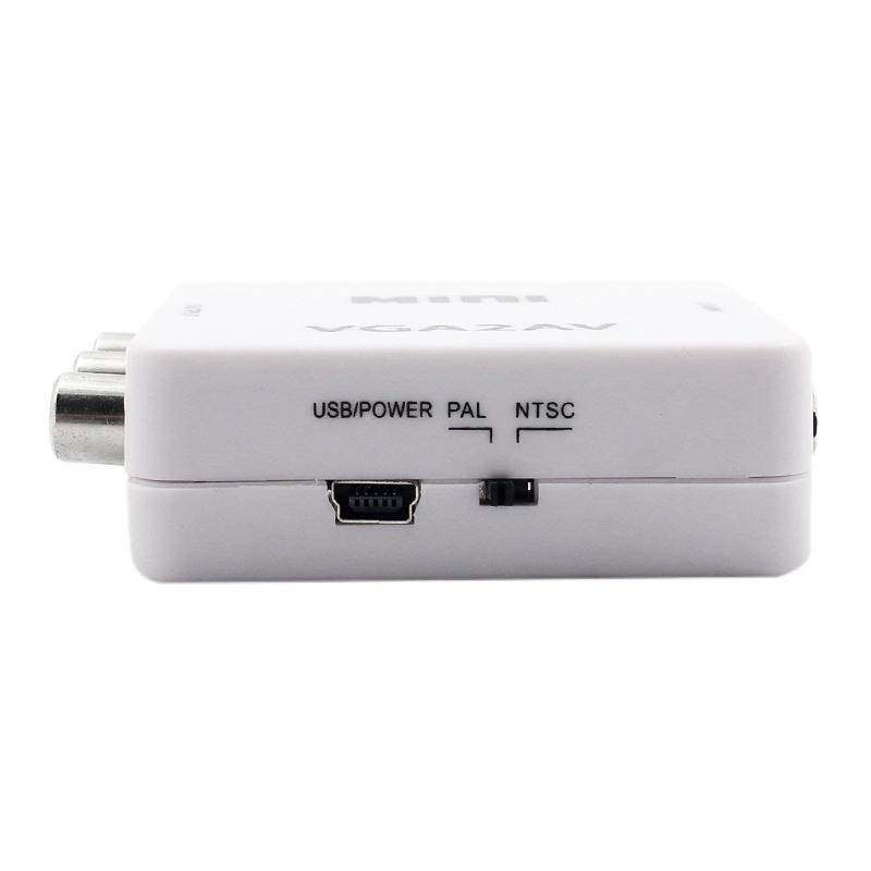 1080P HD Mini VGA to AV Converter PC to TV PAL NTSC Adapter