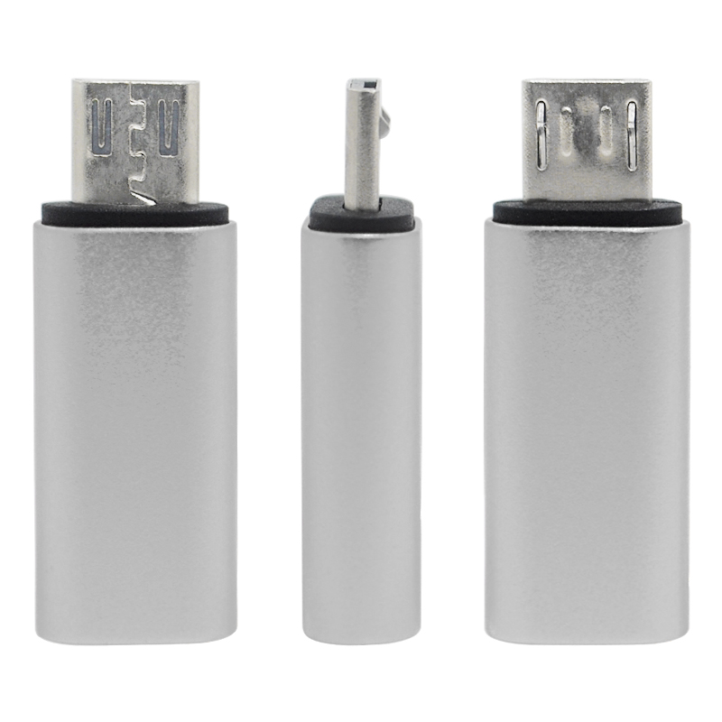 8-Pin Lightning Female to Micro USB Male Adapter Converter Connector - Silver