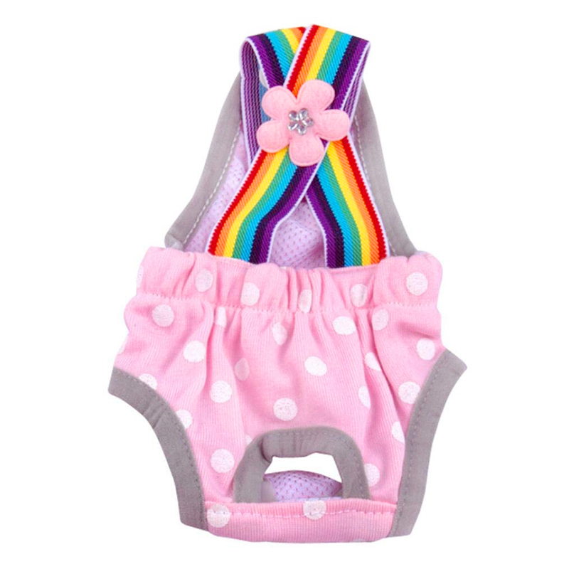 Size XS Female Pet Dog Cotton Sanitary Physiological Pants Underwear Nappy Diapers - Pink Point