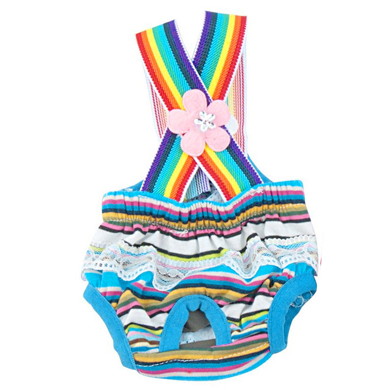 Size XS Female Pet Dog Cotton Sanitary Physiological Pants Underwear Nappy Diapers - Blue Strips