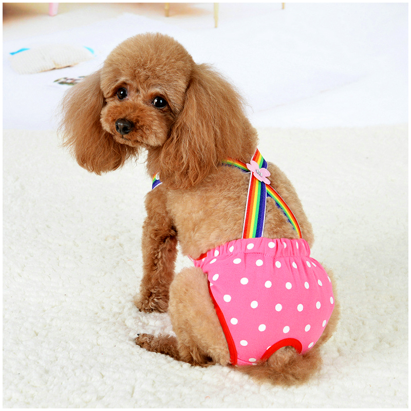 Size S Female Pet Dog Cotton Sanitary Physiological Pants Underwear Nappy Diapers - Rose Red Point