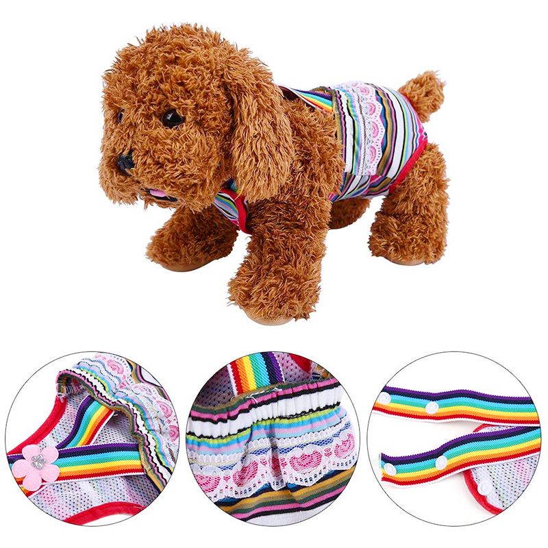 Size S Female Pet Dog Cotton Sanitary Physiological Pants Underwear Nappy Diapers - Pink Strips
