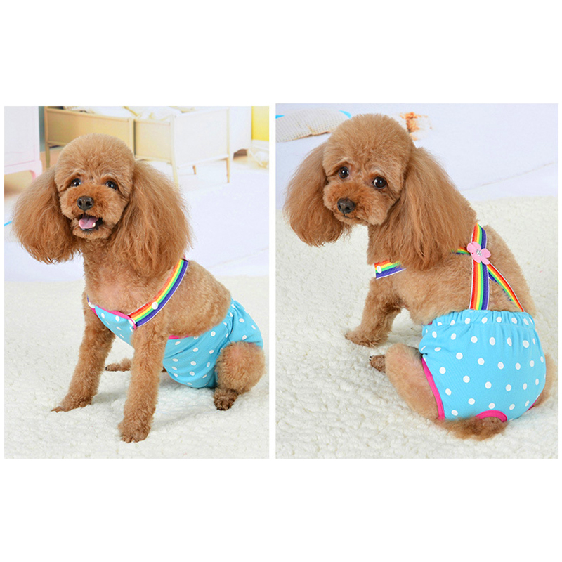 Size M Female Pet Dog Cotton Sanitary Physiological Pants Underwear Nappy Diapers - Blue Point