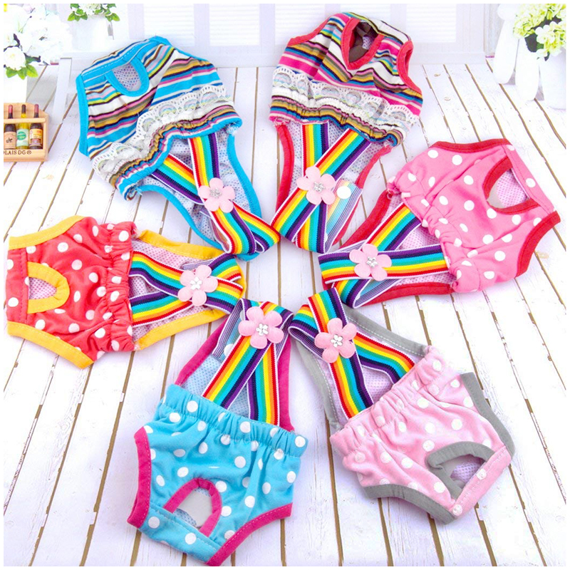 Size M Female Pet Dog Cotton Sanitary Physiological Pants Underwear Nappy Diapers - Pink Point